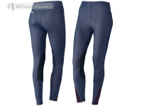 Tattini Ladies Pull-On Breeches (Leggings) In Stretch Twill Denim With Suede Knee Patch