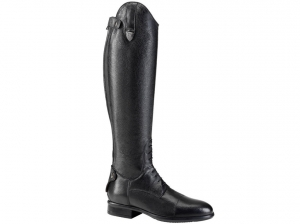 Tattini Breton Laced Grained Leather High Shin Long Riding Tall Boots