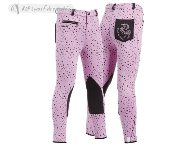Daslö Girl Breeches With Small Heart Printing And Knee Patch