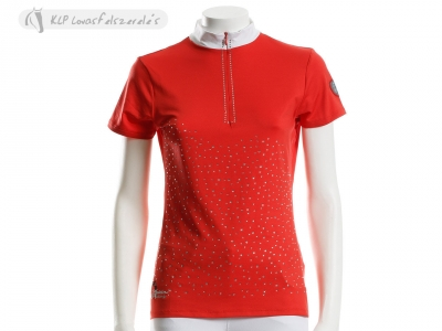 Tattini Ladies Rhinestone Studded Zipped Short Sleeved Stock Shirt