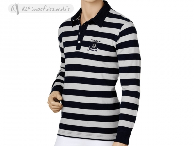 Tattini Mens Long Sleeves Striped Polo Shirt