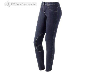 Daslö Gold Girls Breeches Denim Jeans With Suede Knee Patch