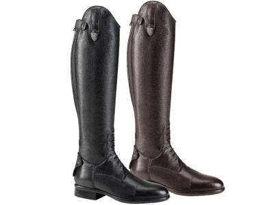 Tattini Breton Laced Grained Leather Long Riding Tall Boots