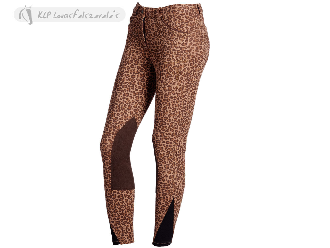 Daslö Ladies Knitted Breeches With Animalier Printing With Suede Knee Patch