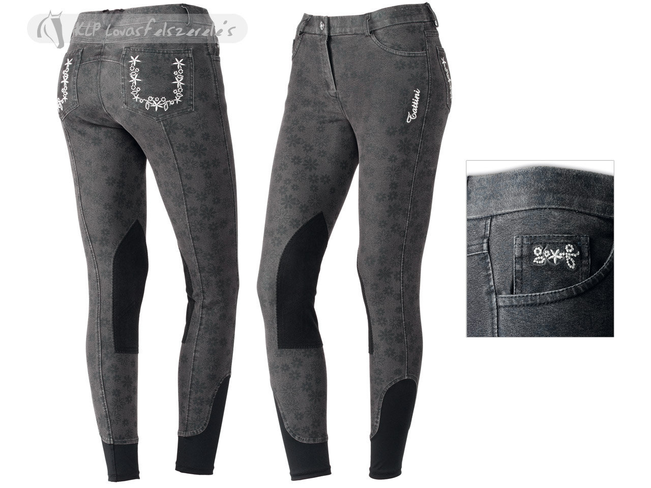 Tattini Denim Flower-Printing Ladies Breeches With Suede Knee Patch