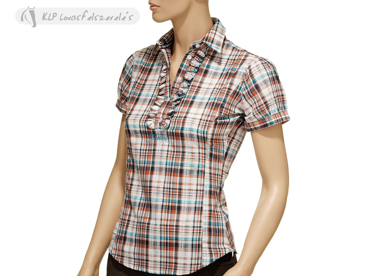 Tattini Ladies Tartan Ruffles Shirt