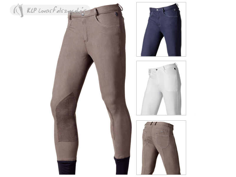 Tattini Microfiber Men Breeches Larice With Suede Knee Patch