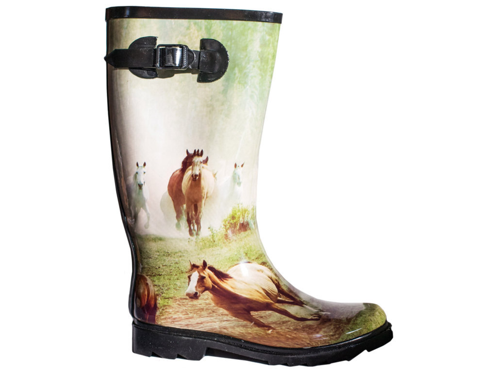 Rubber Boots With Horse Pattern