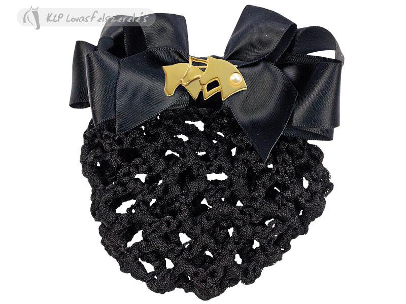 Black Hair Net With 3 Horse Heads Gold/black